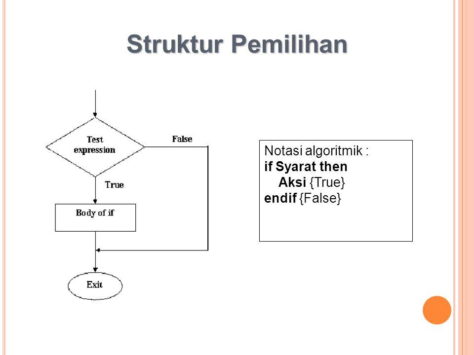 Struktur Pemilihan Notasi algoritmik : if Syarat then Aksi {True}