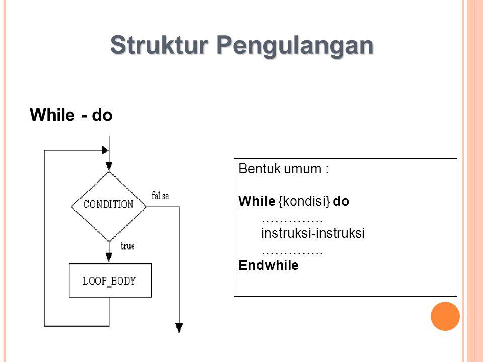 Struktur Pengulangan While - do Bentuk umum : While {kondisi} do