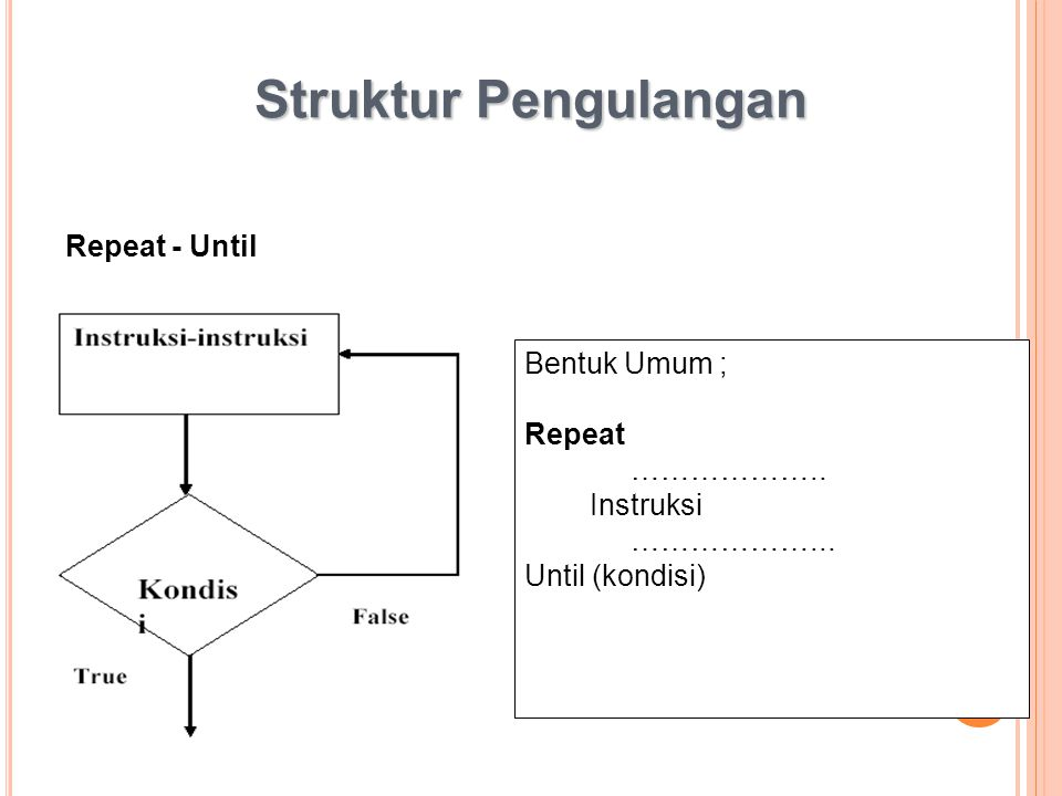 Struktur Pengulangan Repeat - Until Bentuk Umum ; Repeat ………………..