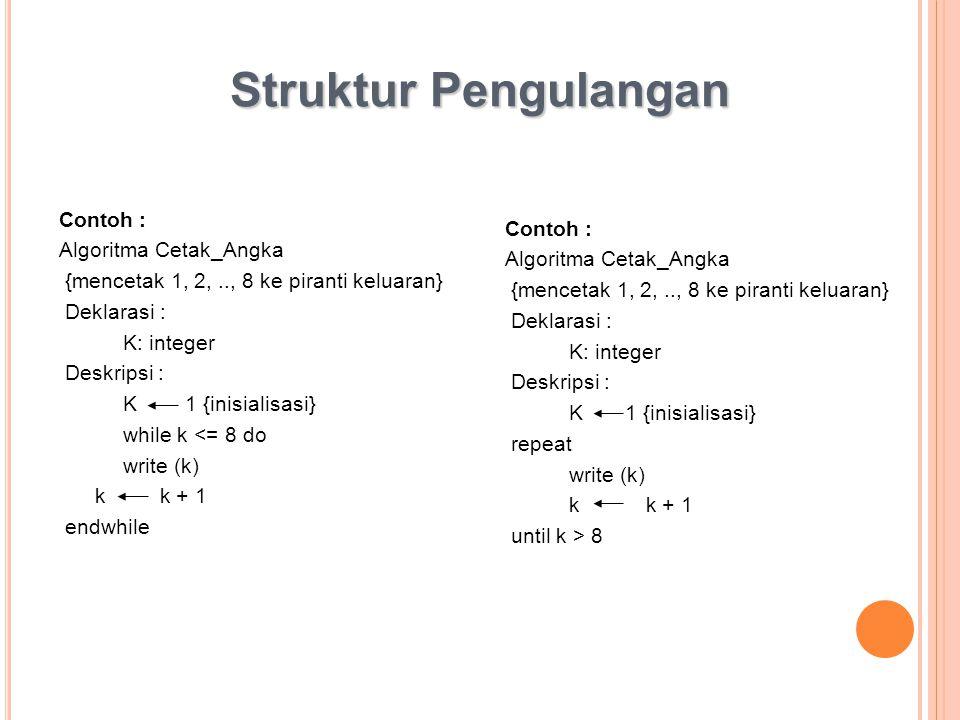 Struktur Pengulangan Contoh : Contoh : Algoritma Cetak_Angka