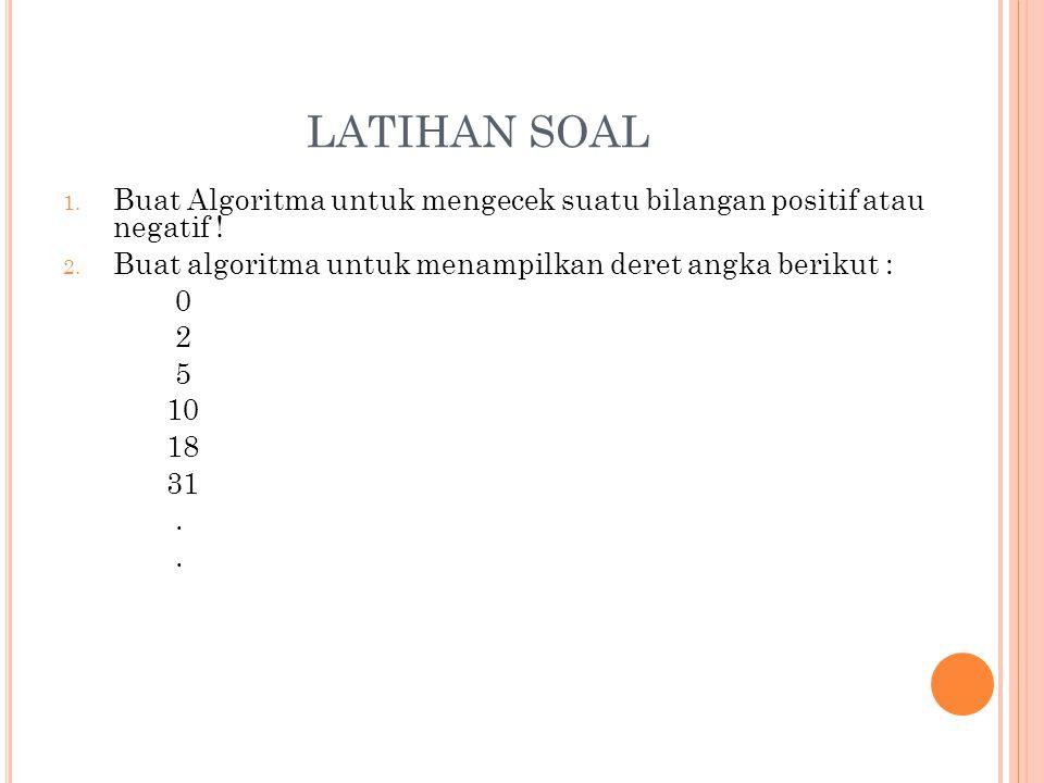 LATIHAN SOAL Buat Algoritma untuk mengecek suatu bilangan positif atau negatif ! Buat algoritma untuk menampilkan deret angka berikut :