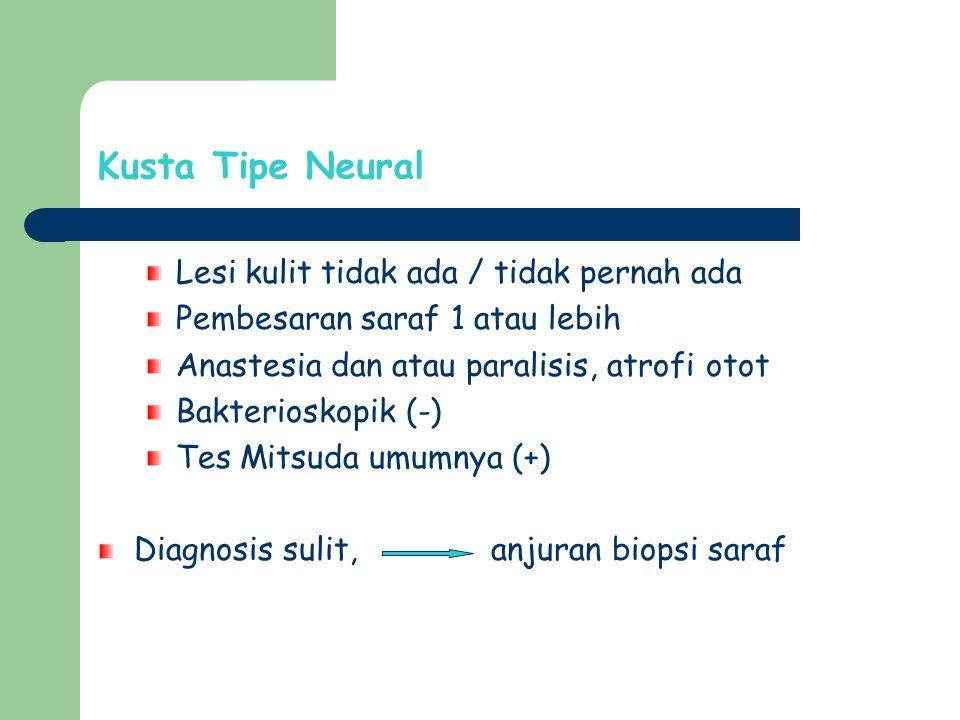 Kusta Tipe Neural Lesi kulit tidak ada / tidak pernah ada