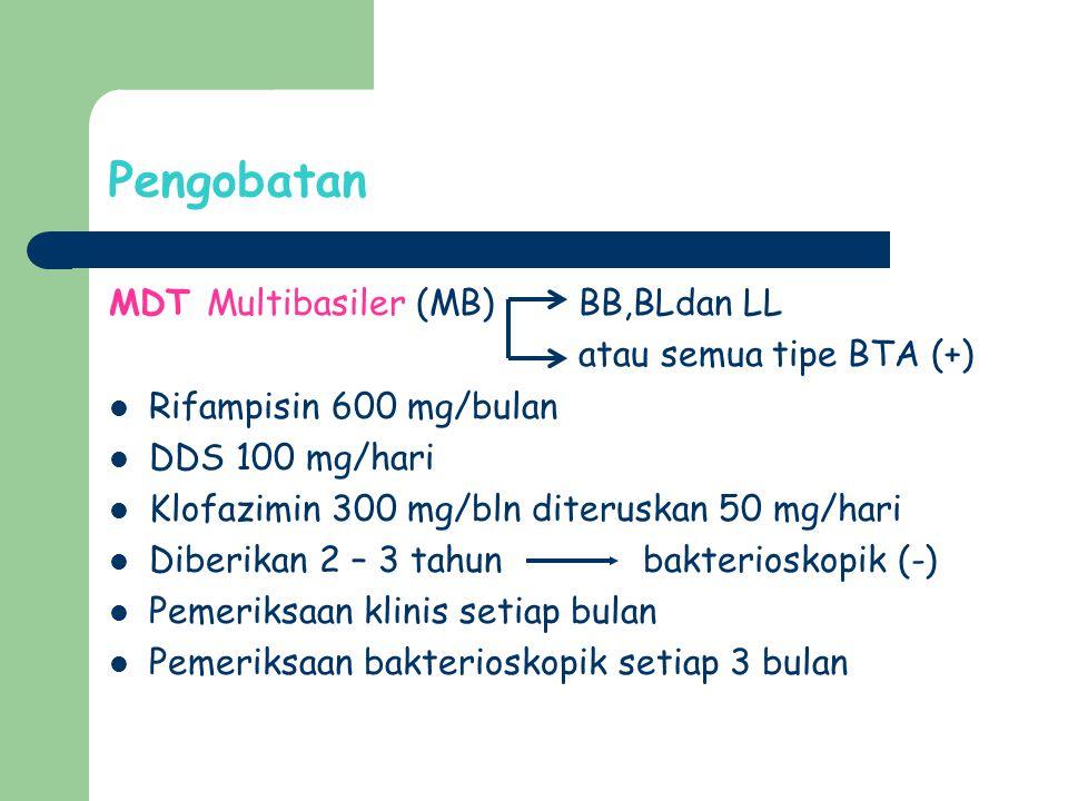 Pengobatan MDT Multibasiler (MB) BB,BLdan LL atau semua tipe BTA (+)