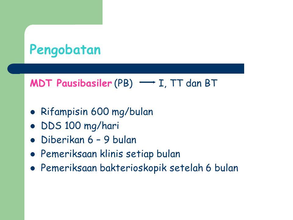Pengobatan MDT Pausibasiler (PB) I, TT dan BT Rifampisin 600 mg/bulan
