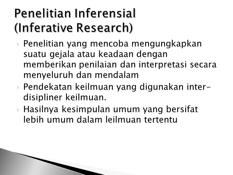 Penelitian Inferensial (Inferative Research)