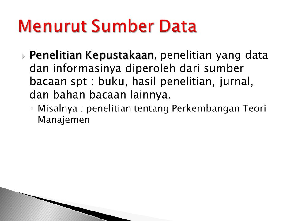 Menurut Sumber Data