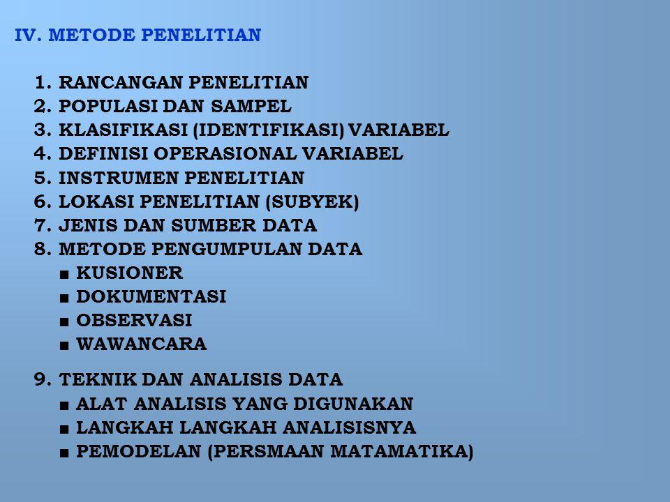 IV. METODE PENELITIAN 1. RANCANGAN PENELITIAN. 2. POPULASI DAN SAMPEL. 3. KLASIFIKASI (IDENTIFIKASI) VARIABEL.