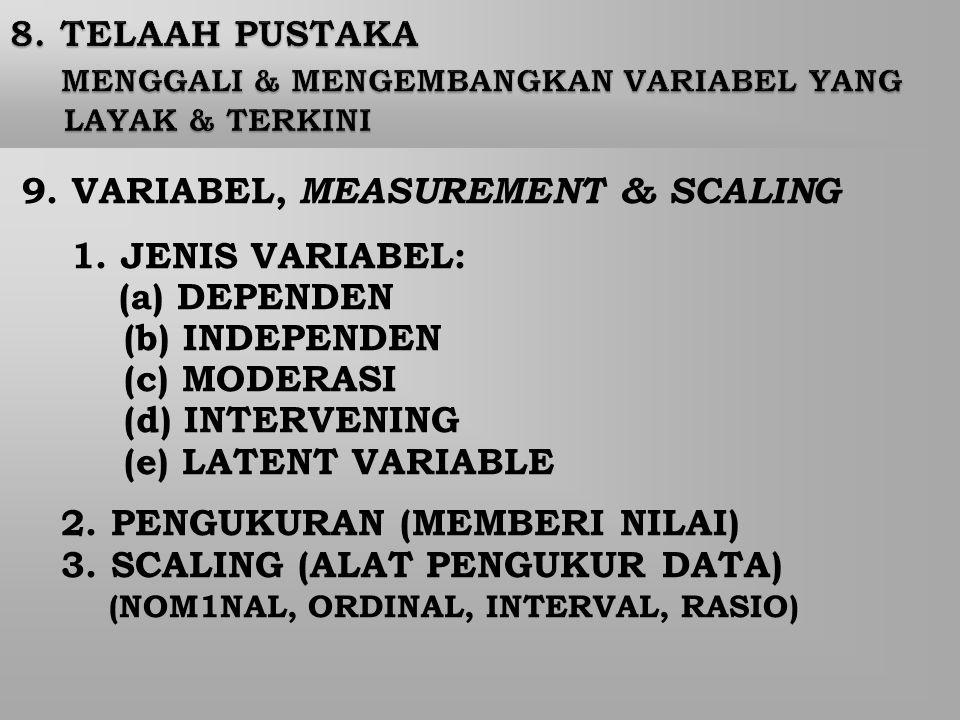 9. VARIABEL, MEASUREMENT & SCALING (a) DEPENDEN (b) INDEPENDEN
