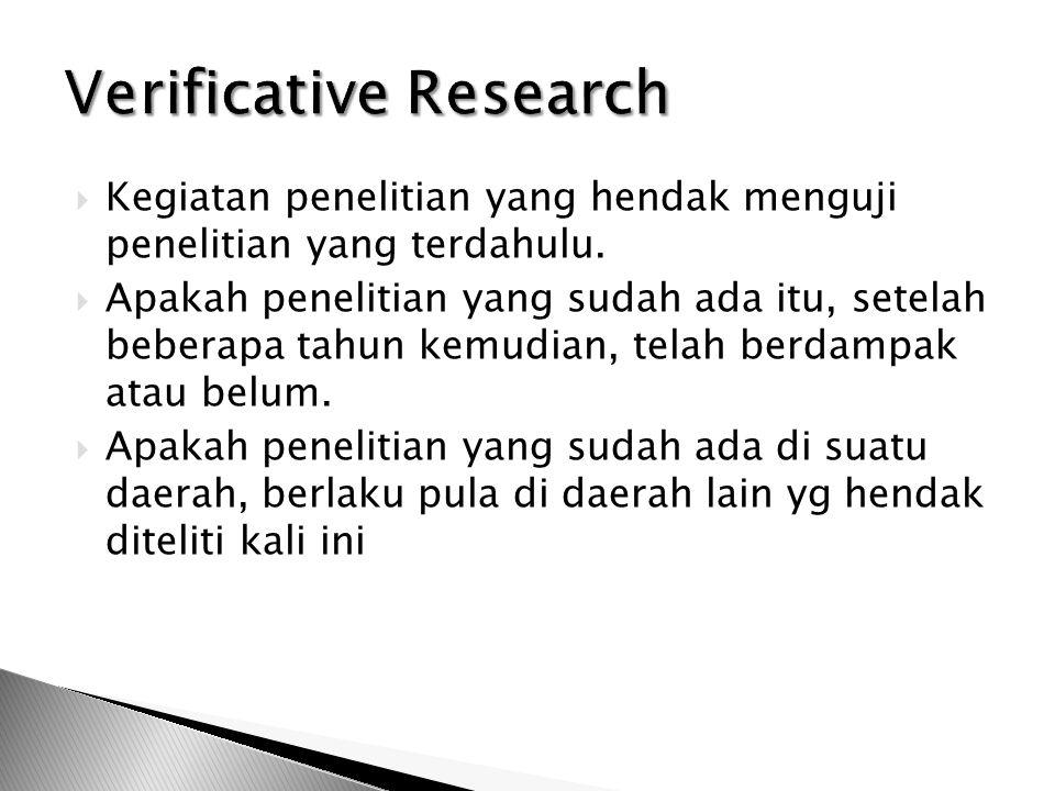 Verificative Research