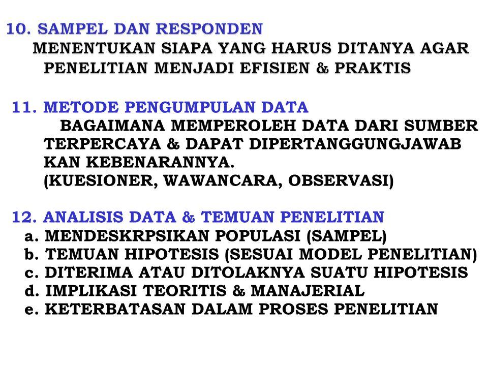 10. SAMPEL DAN RESPONDEN MENENTUKAN SIAPA YANG HARUS DITANYA AGAR PENELITIAN MENJADI EFISIEN & PRAKTIS