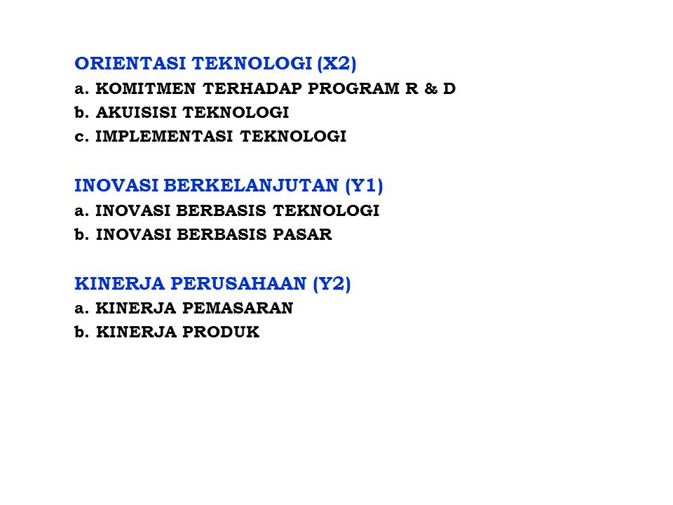 ORIENTASI TEKNOLOGI (X2) a. KOMITMEN TERHADAP PROGRAM R & D b