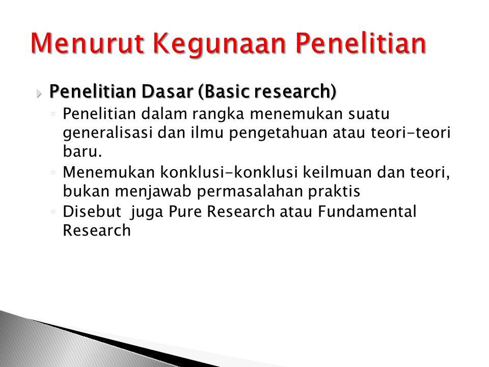 Menurut Kegunaan Penelitian