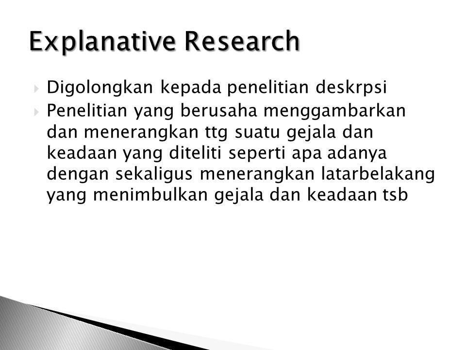 Explanative Research Digolongkan kepada penelitian deskrpsi