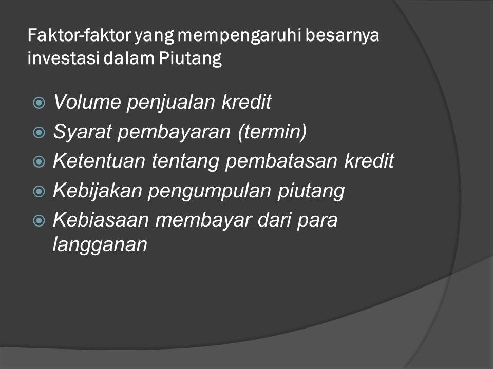 Faktor-faktor yang mempengaruhi besarnya investasi dalam Piutang