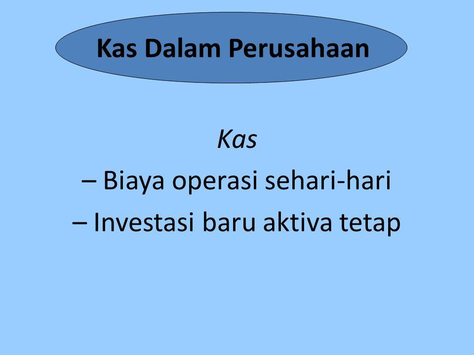 Kas – Biaya operasi sehari-hari – Investasi baru aktiva tetap
