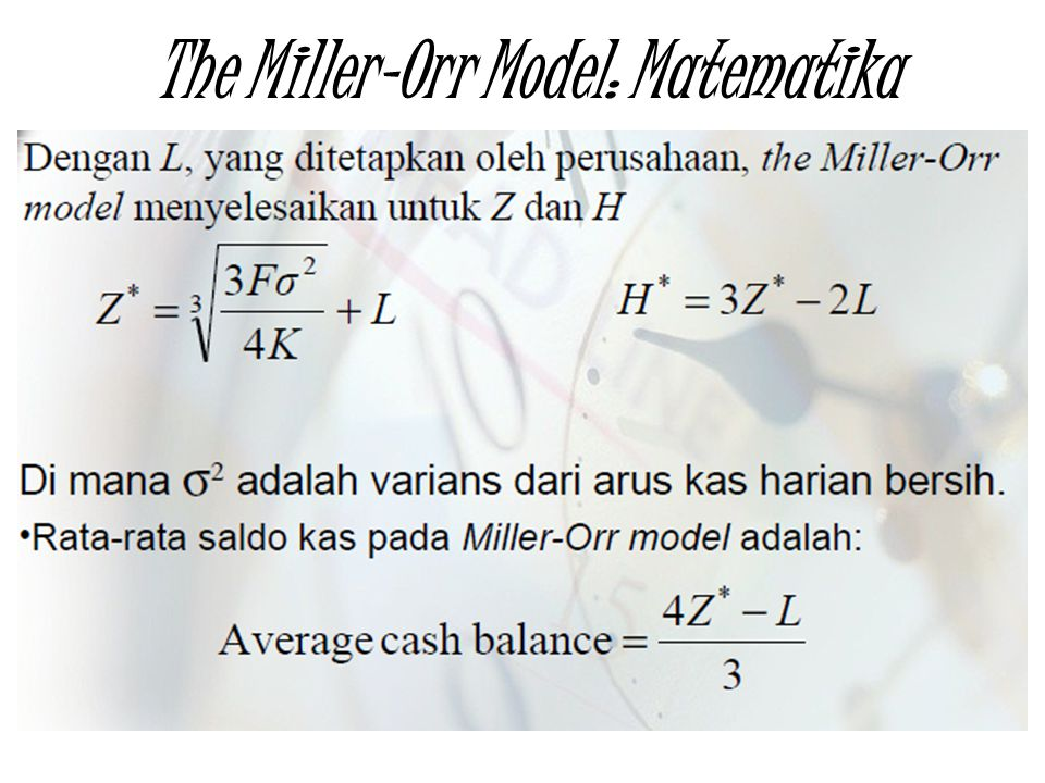 The Miller-Orr Model: Matematika