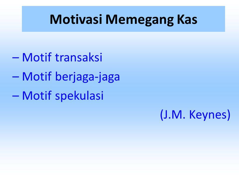 – Motif transaksi – Motif berjaga-jaga – Motif spekulasi (J.M. Keynes)