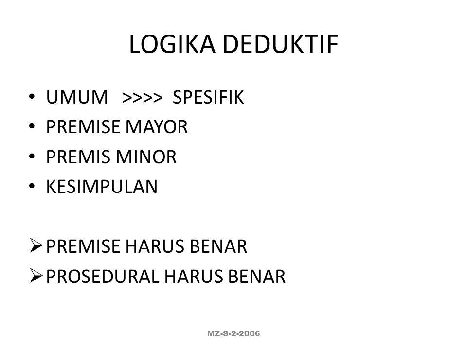 LOGIKA DEDUKTIF UMUM >>>> SPESIFIK PREMISE MAYOR