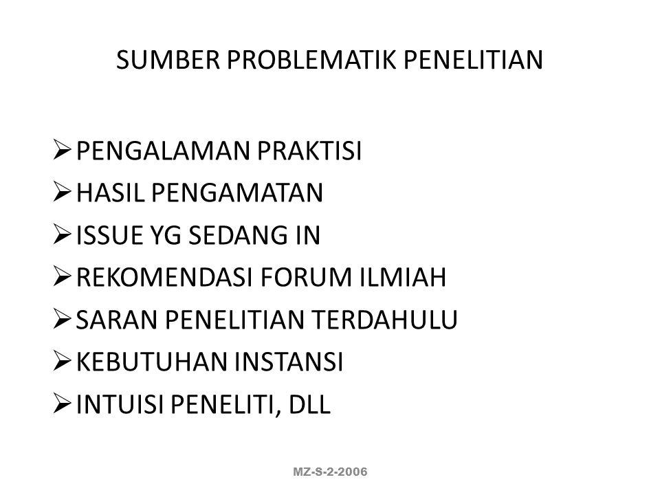 SUMBER PROBLEMATIK PENELITIAN