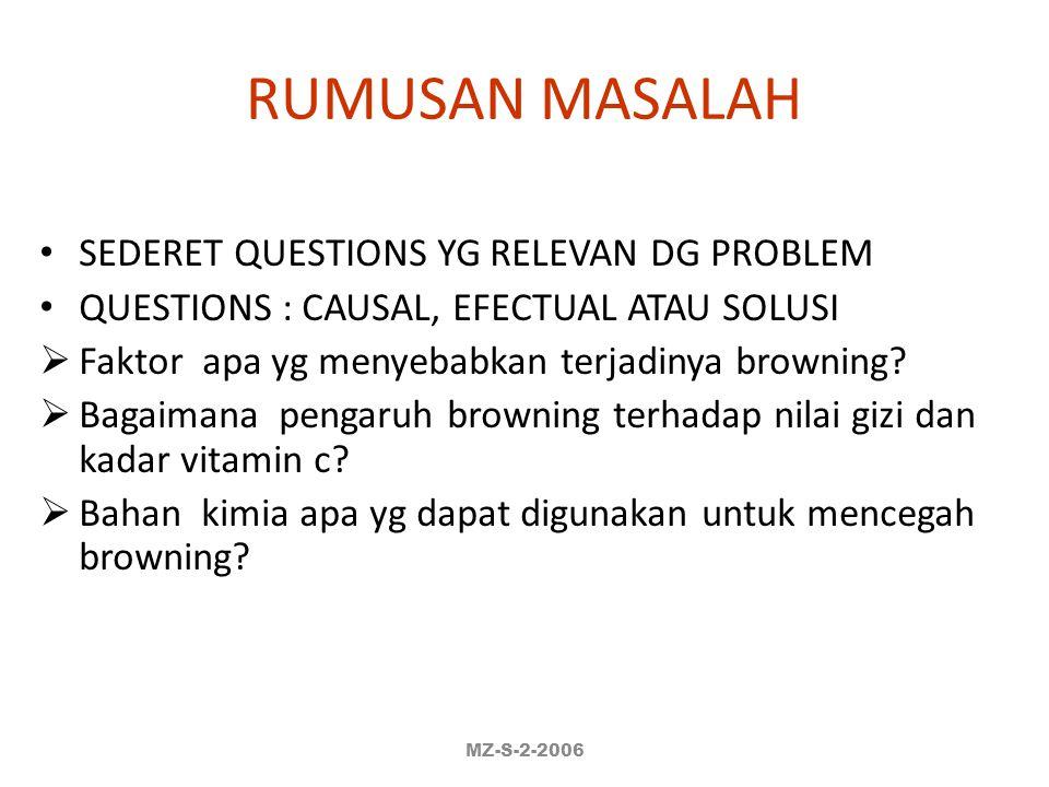 RUMUSAN MASALAH SEDERET QUESTIONS YG RELEVAN DG PROBLEM