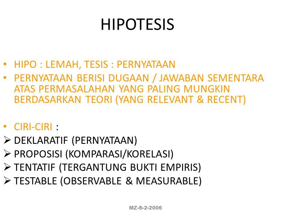 HIPOTESIS HIPO : LEMAH, TESIS : PERNYATAAN