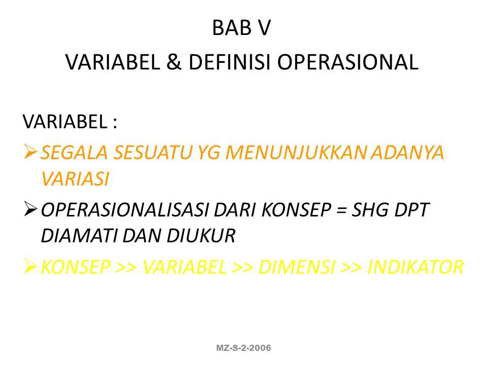 BAB V VARIABEL & DEFINISI OPERASIONAL