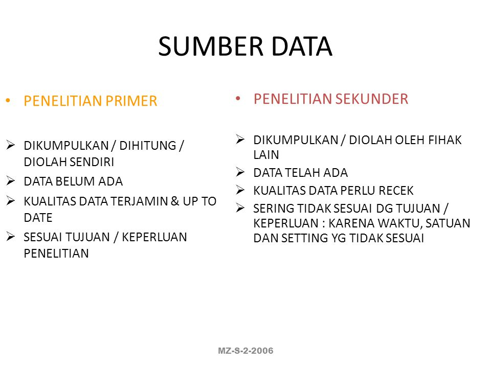 SUMBER DATA PENELITIAN PRIMER PENELITIAN SEKUNDER