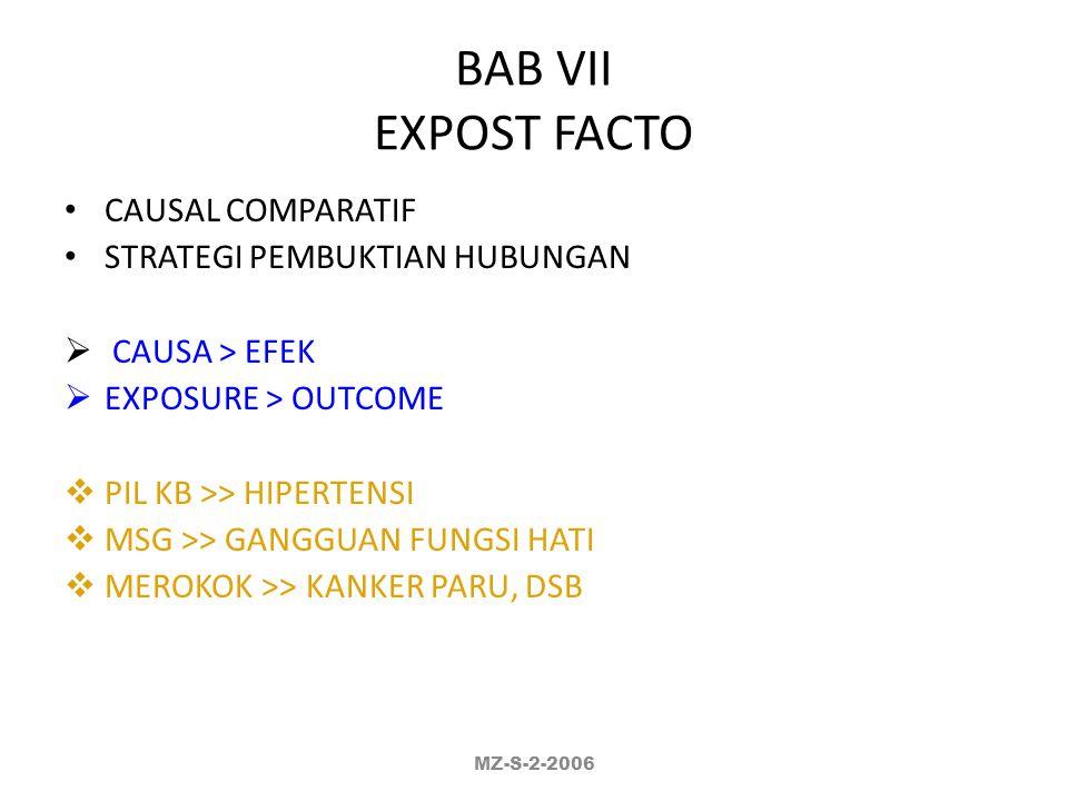 BAB VII EXPOST FACTO CAUSAL COMPARATIF STRATEGI PEMBUKTIAN HUBUNGAN