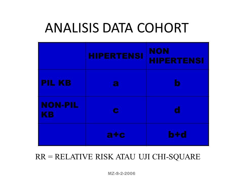 RR = RELATIVE RISK ATAU UJI CHI-SQUARE