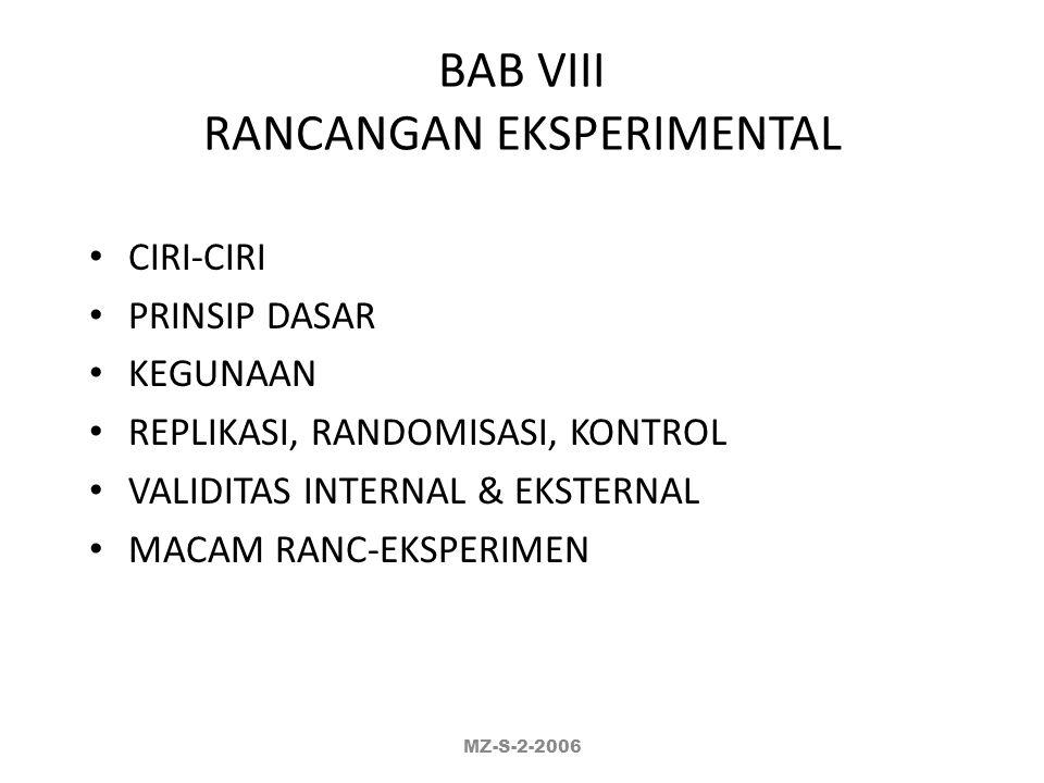 BAB VIII RANCANGAN EKSPERIMENTAL