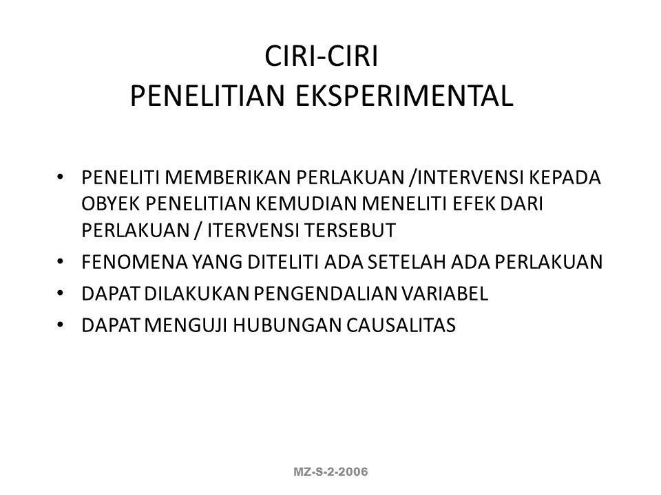 CIRI-CIRI PENELITIAN EKSPERIMENTAL