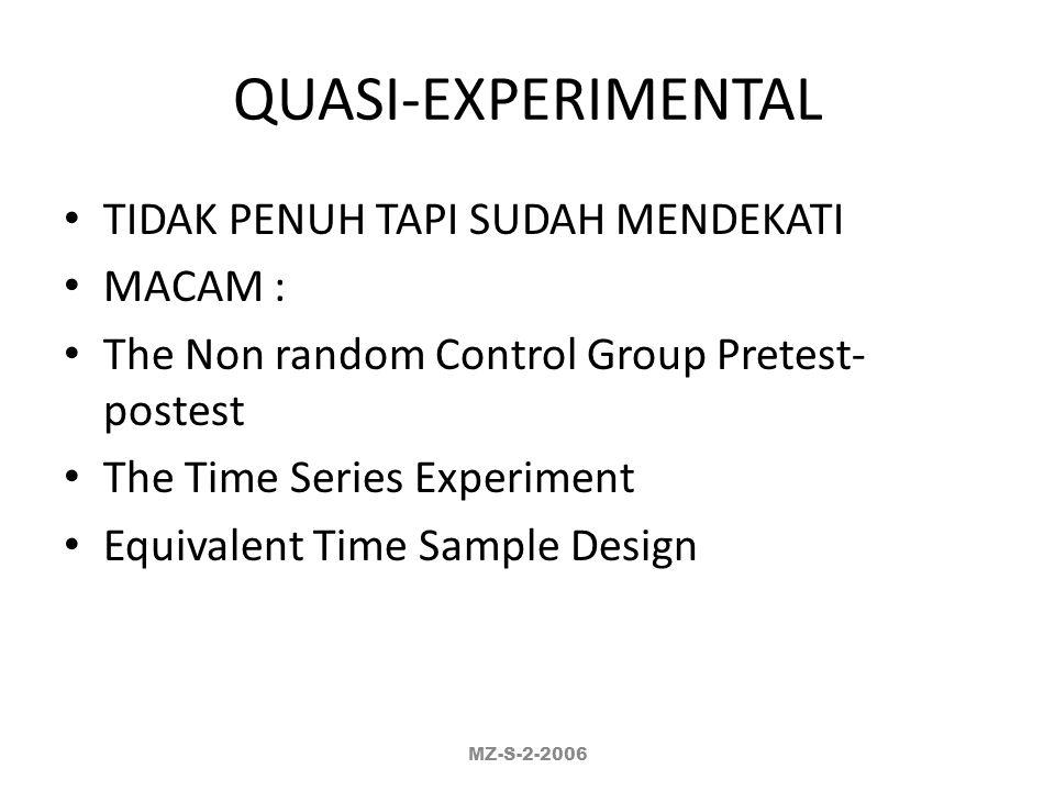 QUASI-EXPERIMENTAL TIDAK PENUH TAPI SUDAH MENDEKATI MACAM :