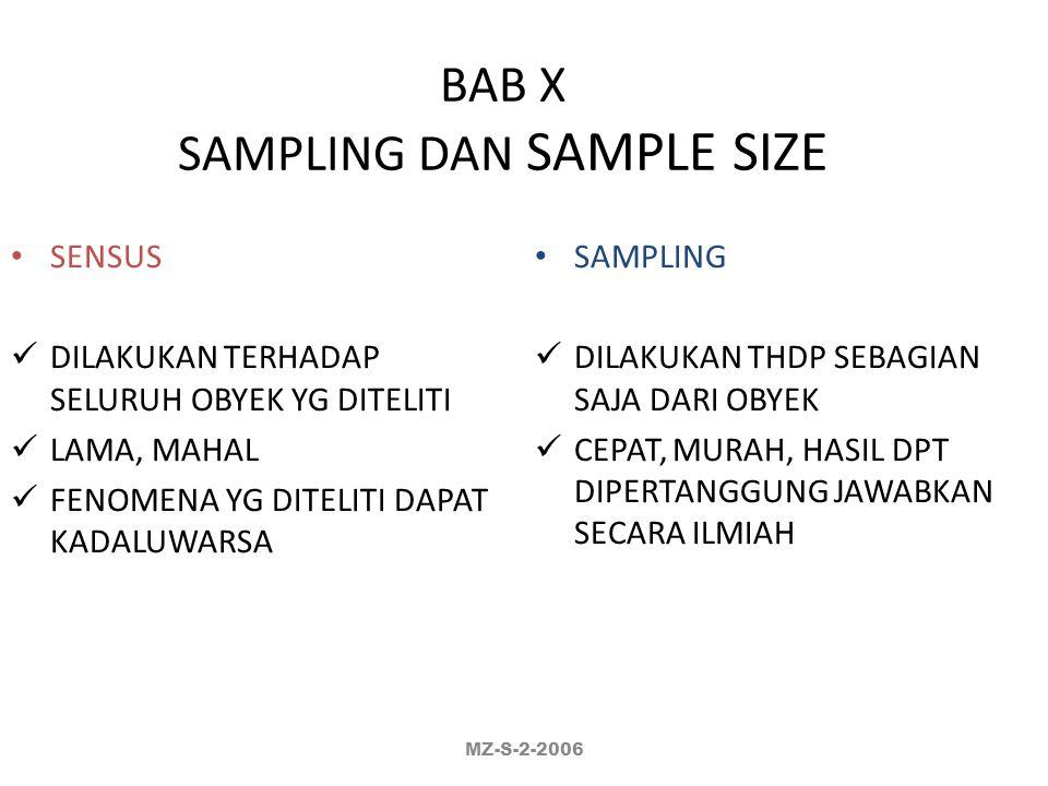 BAB X SAMPLING DAN SAMPLE SIZE