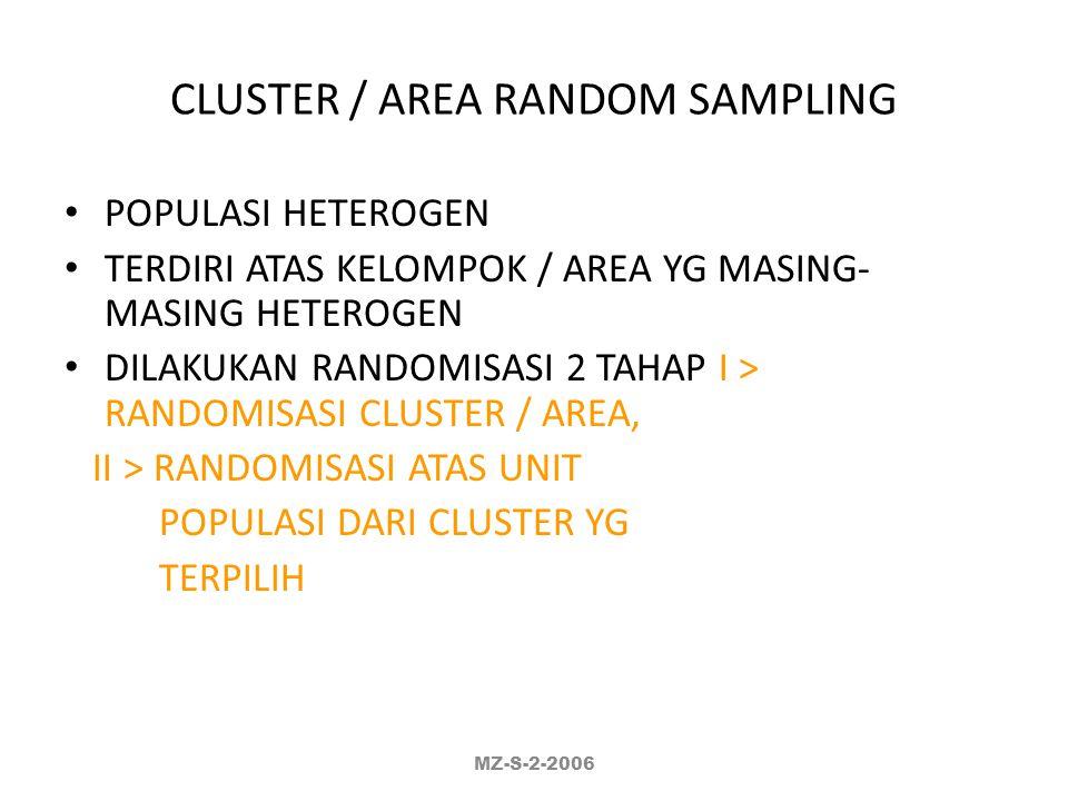 CLUSTER / AREA RANDOM SAMPLING