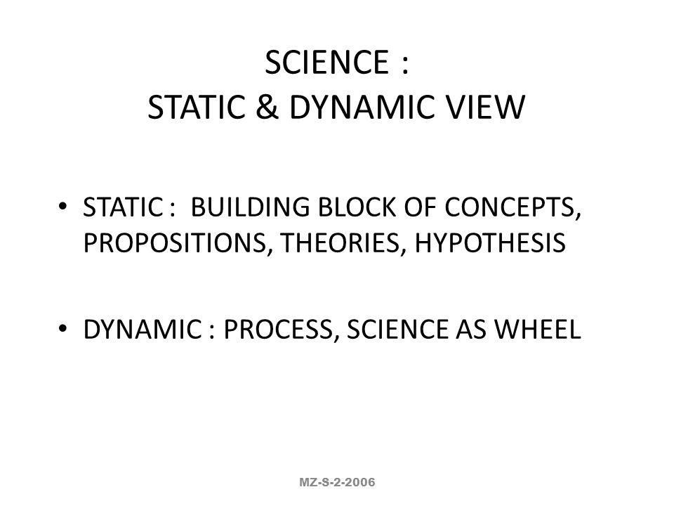 SCIENCE : STATIC & DYNAMIC VIEW