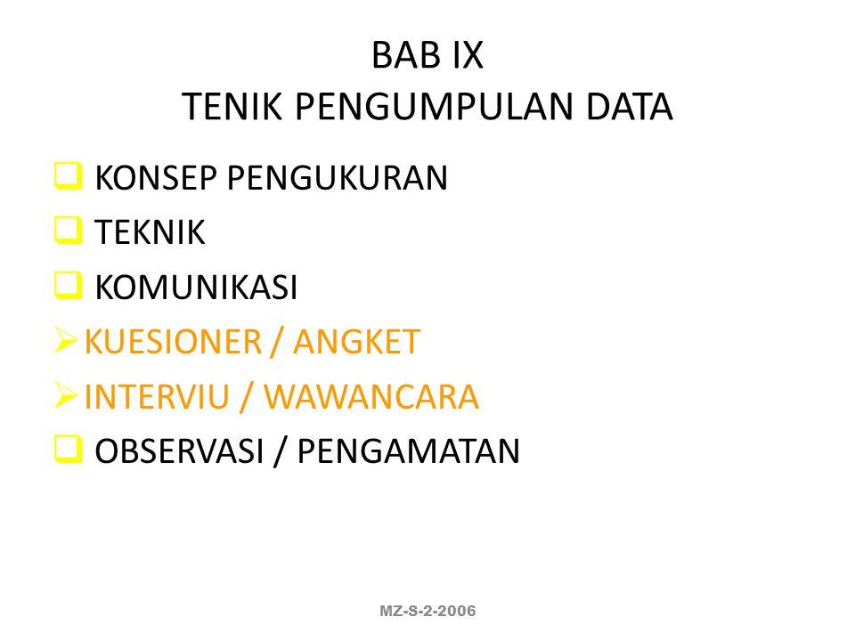 BAB IX TENIK PENGUMPULAN DATA