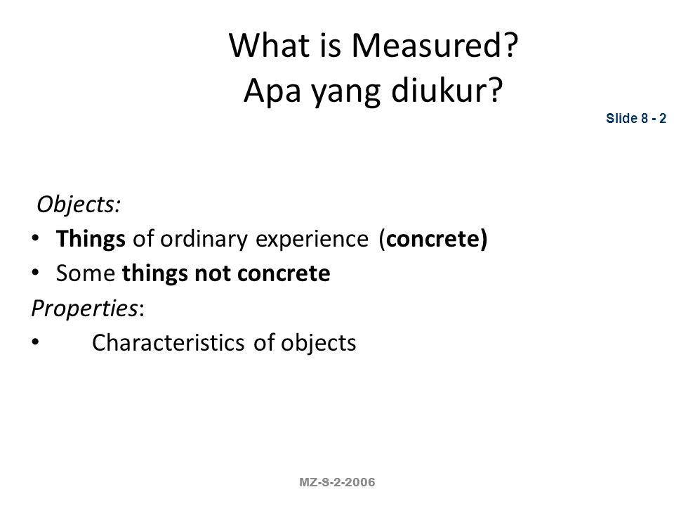 What is Measured Apa yang diukur