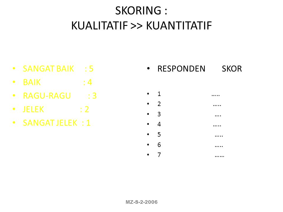 SKORING : KUALITATIF >> KUANTITATIF