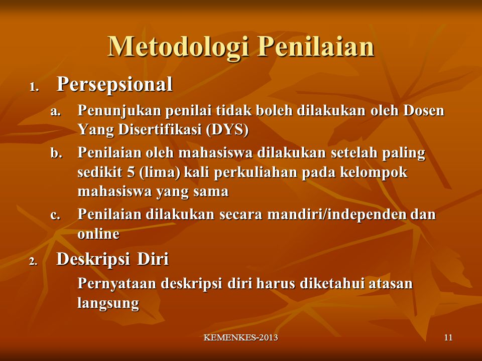 Metodologi Penilaian Persepsional Deskripsi Diri