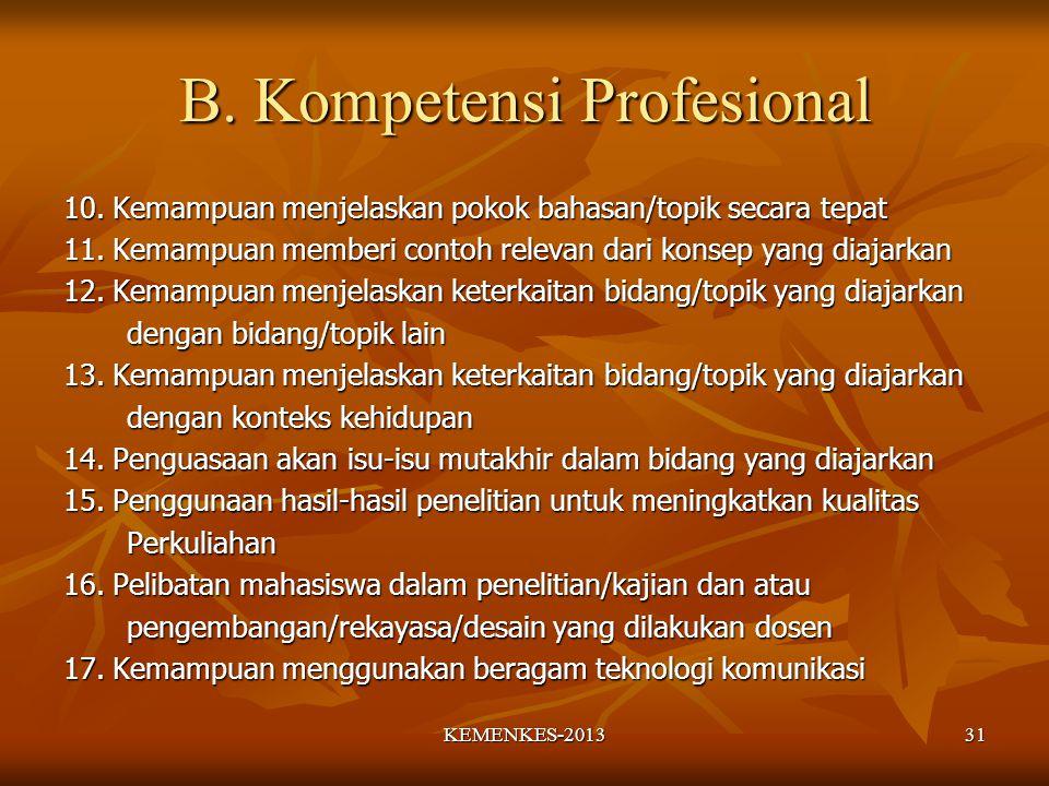 B. Kompetensi Profesional