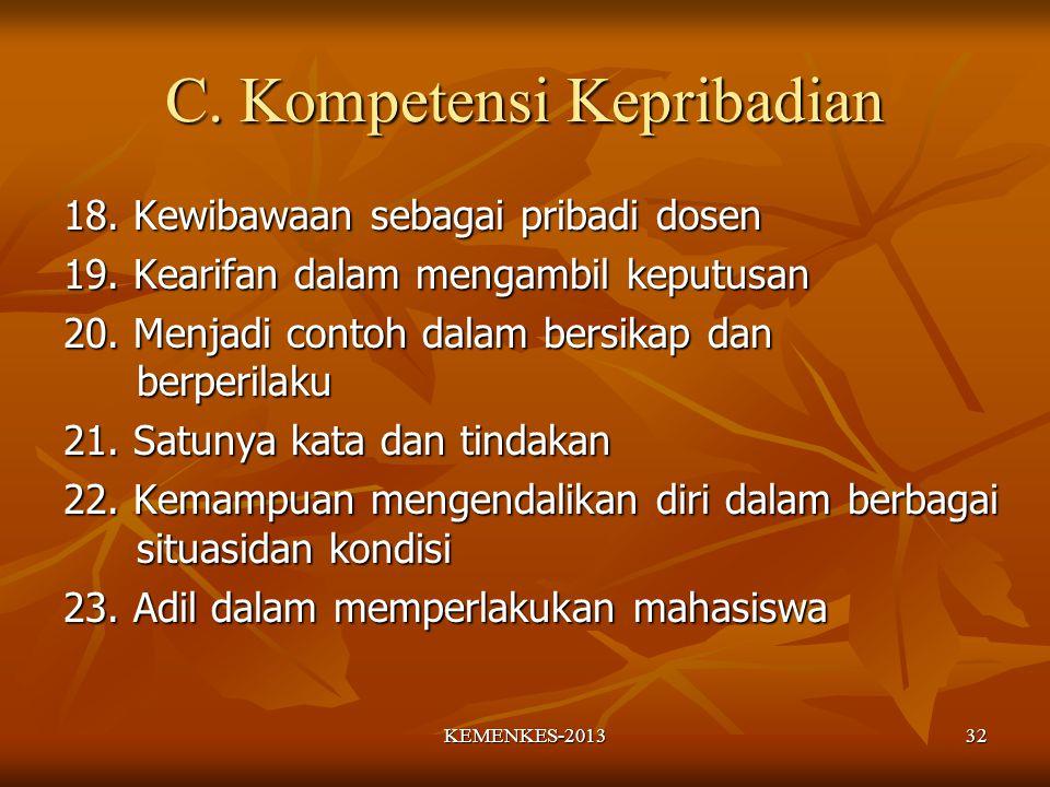 C. Kompetensi Kepribadian