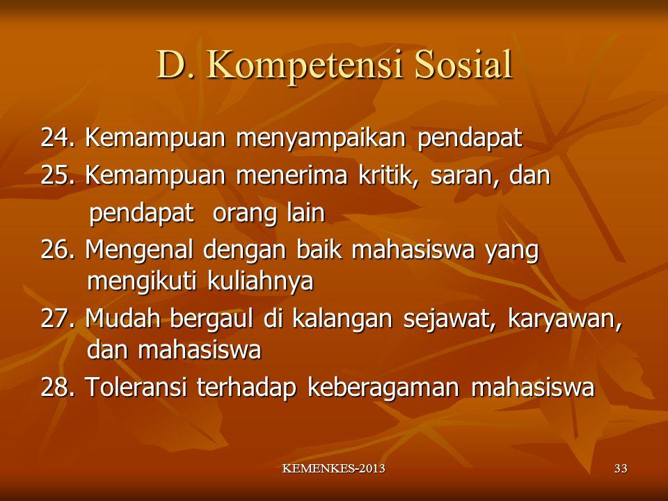 D. Kompetensi Sosial