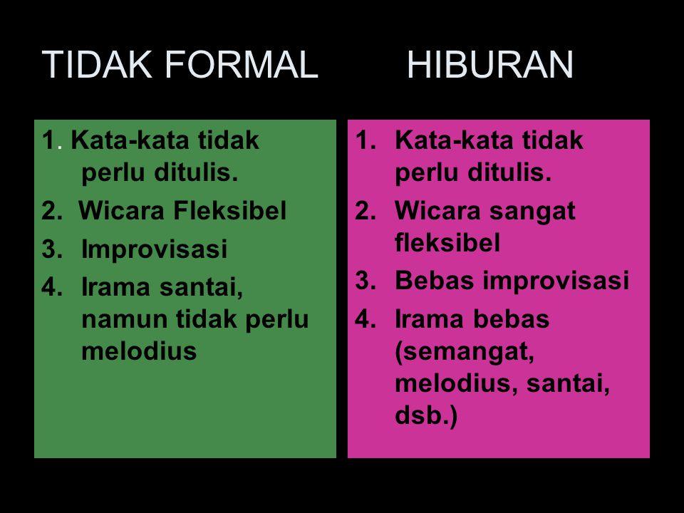 TIDAK FORMAL HIBURAN 1. Kata-kata tidak perlu ditulis.