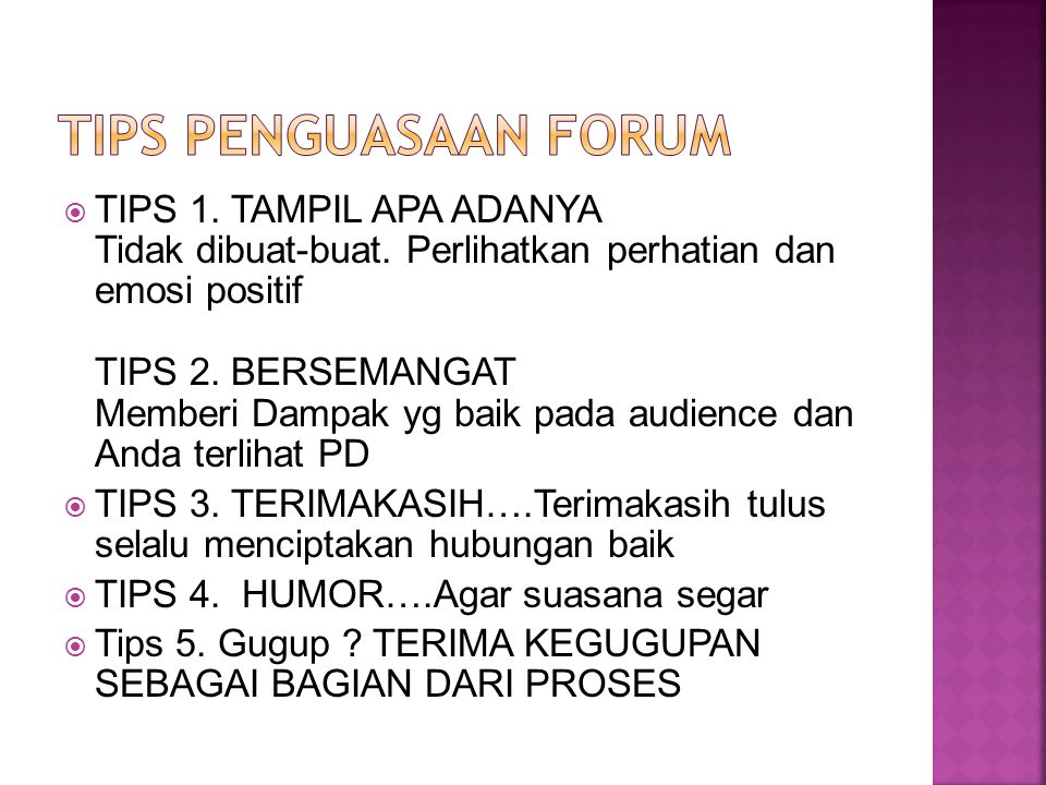 TIPS PENGUASAAN FORUM