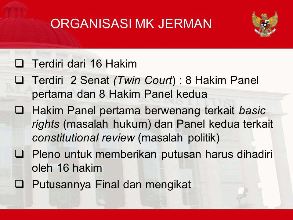 ORGANISASI MK JERMAN Terdiri dari 16 Hakim