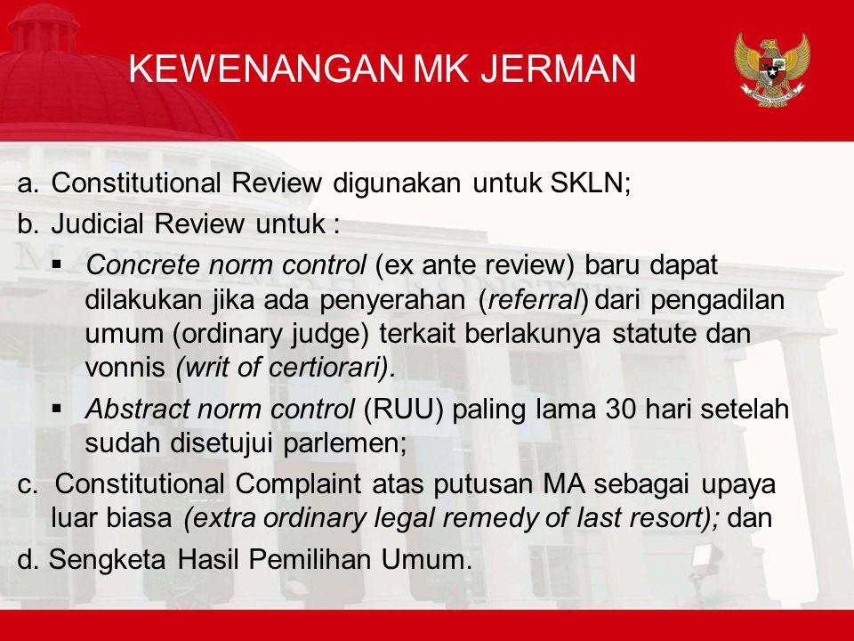 KEWENANGAN MK JERMAN Constitutional Review digunakan untuk SKLN;