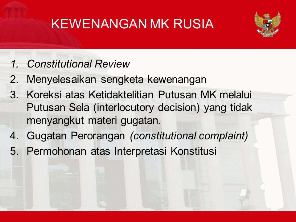 KEWENANGAN MK RUSIA Constitutional Review