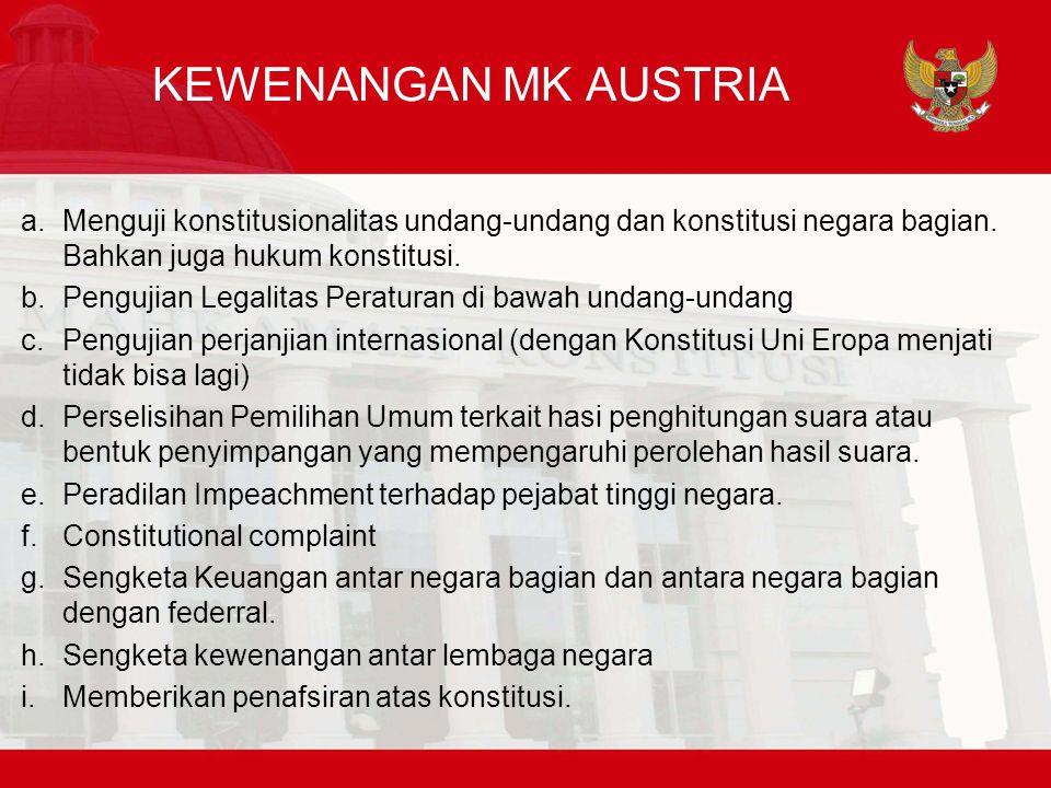 KEWENANGAN MK AUSTRIA Menguji konstitusionalitas undang-undang dan konstitusi negara bagian. Bahkan juga hukum konstitusi.