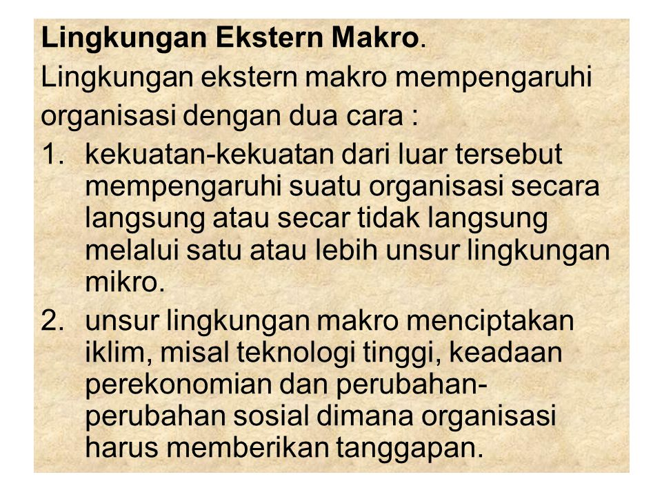 Lingkungan Ekstern Makro.