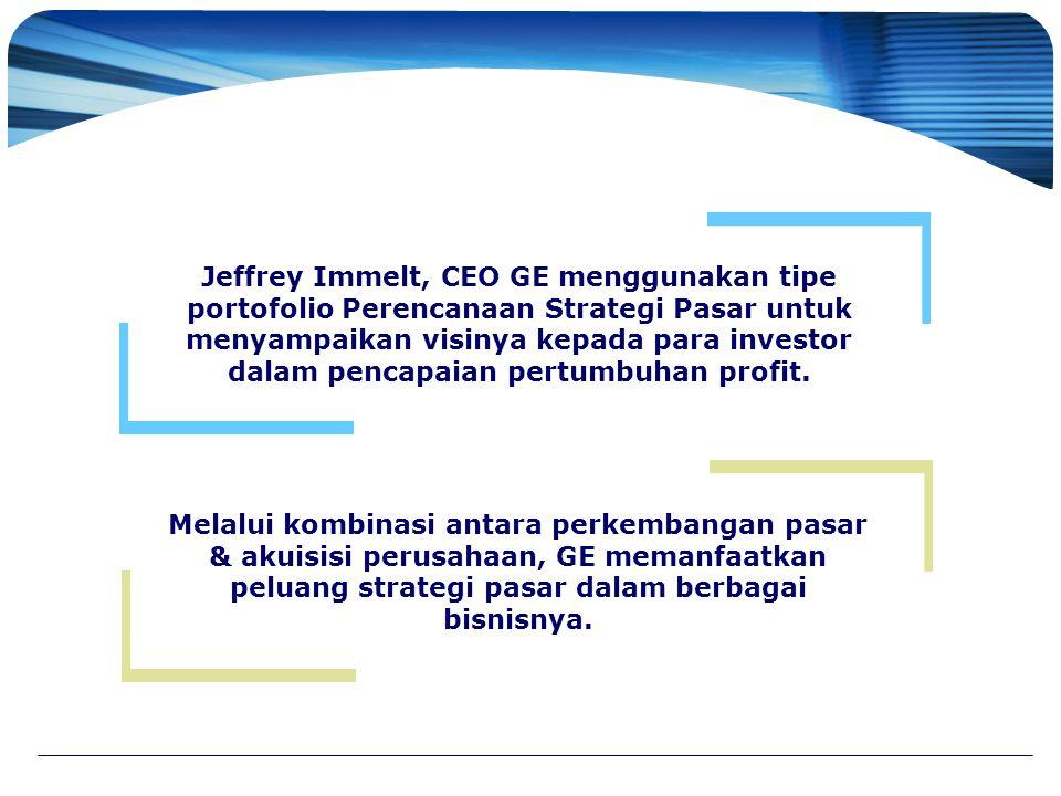 Jeffrey Immelt, CEO GE menggunakan tipe portofolio Perencanaan Strategi Pasar untuk menyampaikan visinya kepada para investor dalam pencapaian pertumbuhan profit.
